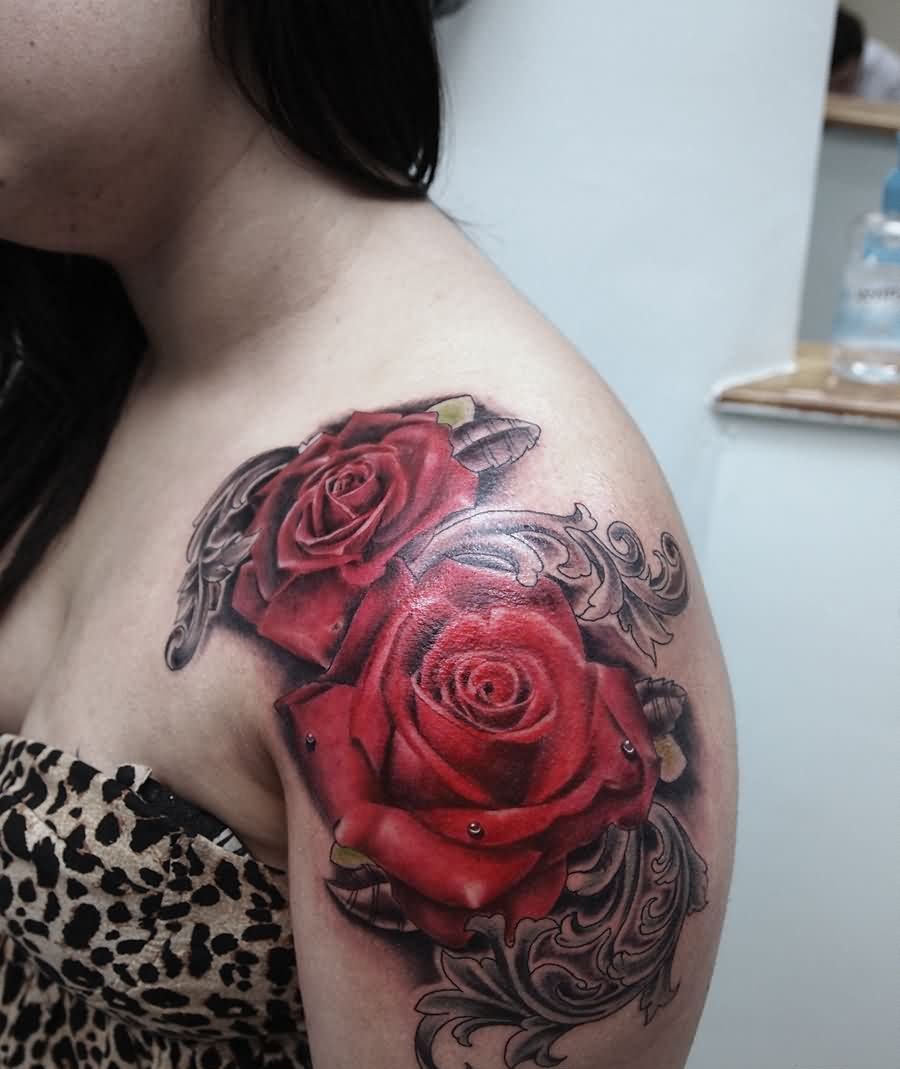 Gorgeous Red Rose Tattoos On Shoulder