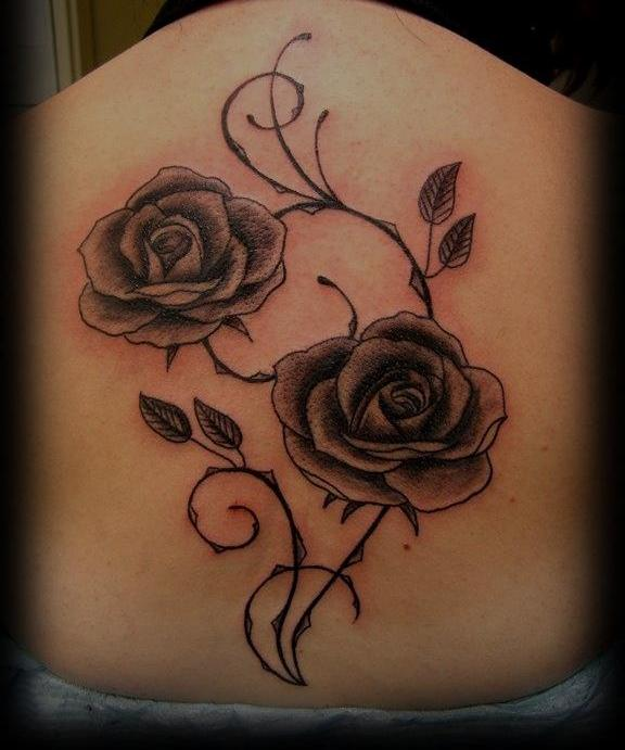 Gorgeous Rose Tattoos On Back