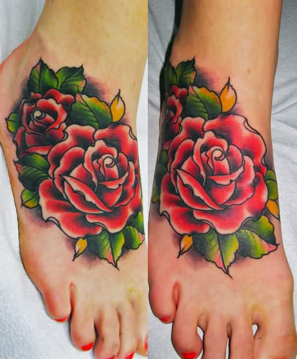 Gorgeous Rose Tattoos On Feet