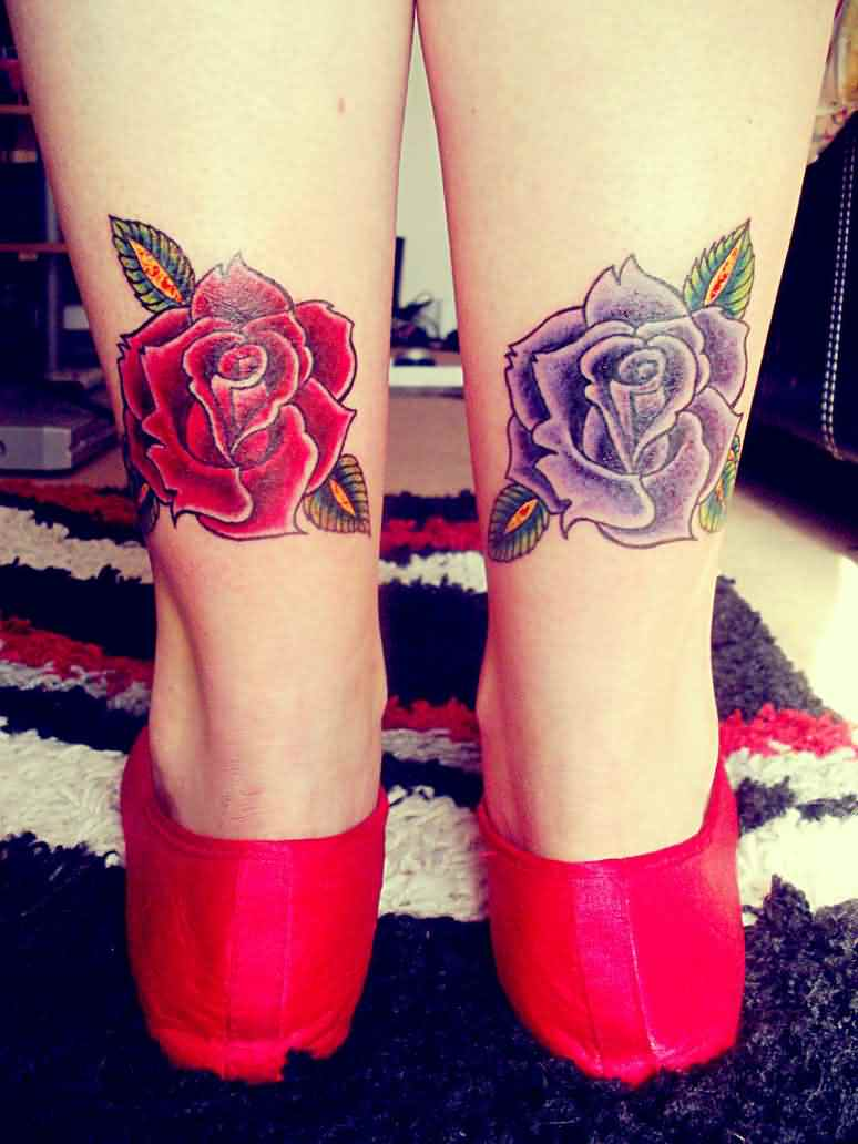 Gorgeous Rose Tattoos On Lower Legs For Girls