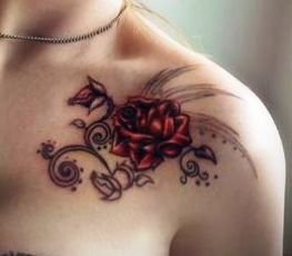 Gorgeous Rose Vine Tattoo On Front