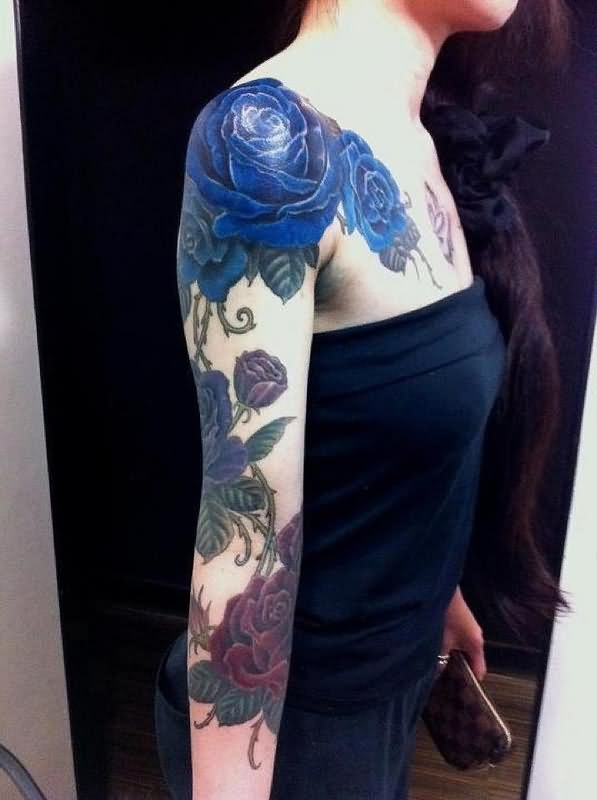 Gorgeous Roses Tattoos On Right Sleeve