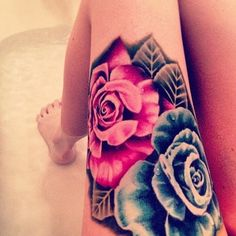 Gorgeous Roses Tattoos On Upper Thigh