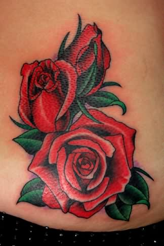 Gorgeous Roses Tattoos On Waist