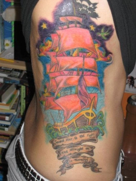 Gorgeous Tall Pirate Ship Tattoo On Ribs