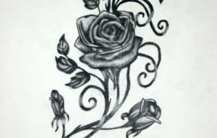 Gothic Rose Vine Tattoo Design