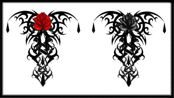 Gothic Tribal Rose Tattoo Designs