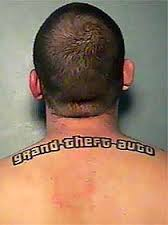 Grant Theft Auto Upper Back Tattoo