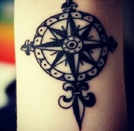 Great Fleur De Lis Compass Tattoo