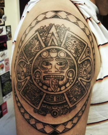 Great Mexican Symbol Tattoo On Shoulder