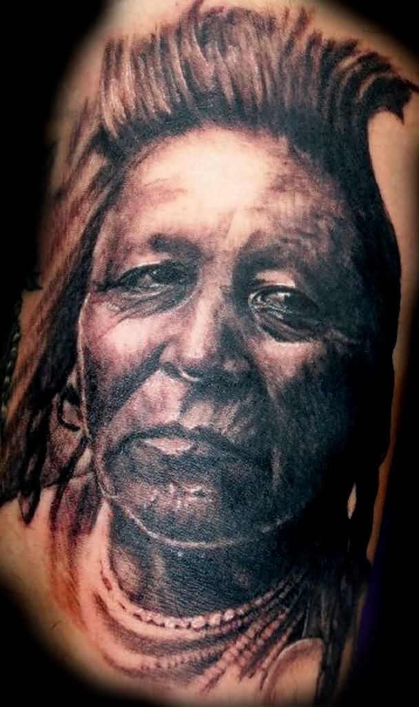 Great Native American Lady Portrait Tattoo