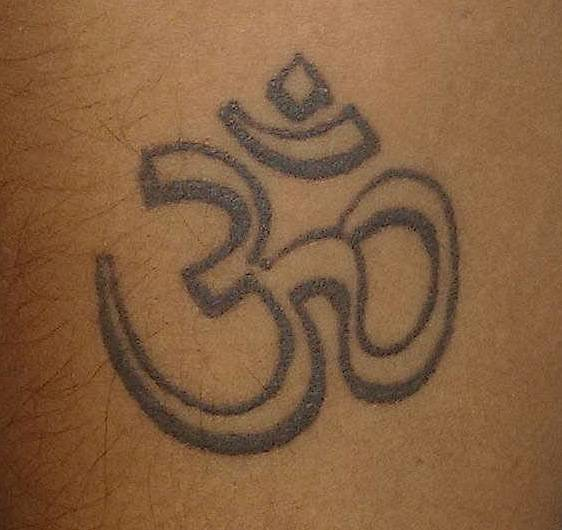 Great Outline Ohm Symbol Tattoo