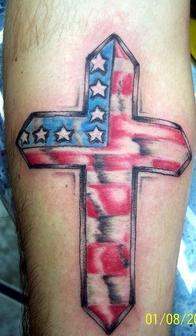 Great Patriotic Cross Tattoo On Arm