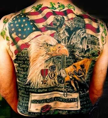 Great Patriotic Tattoos On Entire Back For Men