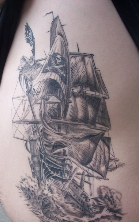 Great Pirate Ship Tattoo On Ribs