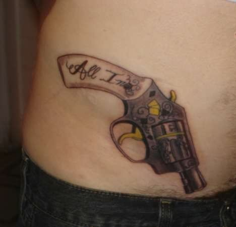 Great Pistol Tattoo On Hip (2)