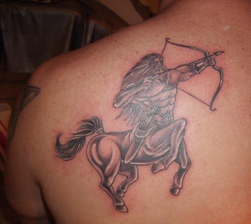 Great Sagittarius Zodiac Tattoo Behind Shoulder