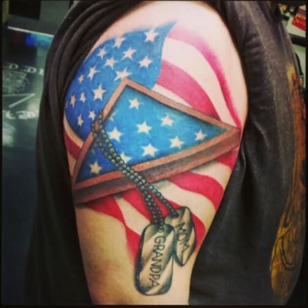 Great US Patriotic Tattoos On Shoulder