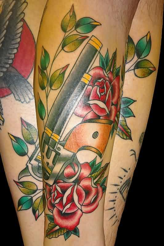 Green Leaves Pistol And Rose Tattoos