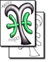 Green Pisces And Aries Tattoos Design