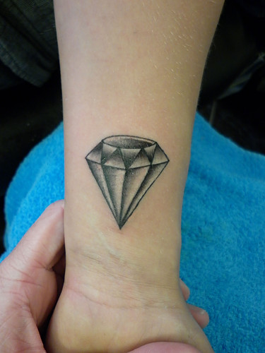Grey Diamond Tattoo Near Wrist