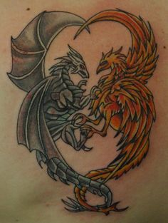 Grey Dragon And Phoenix Love Tattoo
