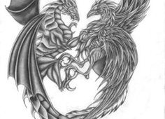 Grey Dragon And Phoenix Tattoo Designs