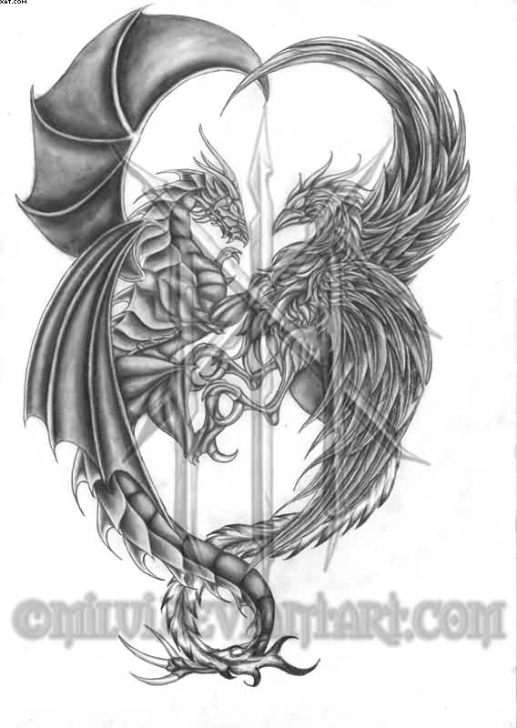 Grey Dragon And Phoenix Tattoos Design