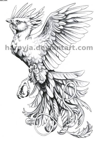 Grey Flying Phoenix Tattoo Design