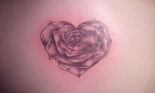Grey Ink Rose Heart Tattoo