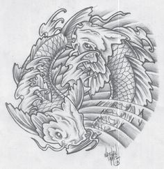 Grey Koi Fish Pisces Tattoo Sketch
