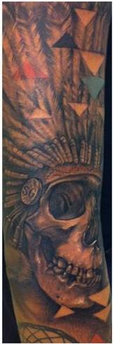Grey Native American Skull Headdress Tattoo