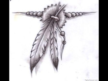 Grey Native American Tattoo Sketch