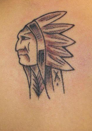 Grey Native American Tattoo