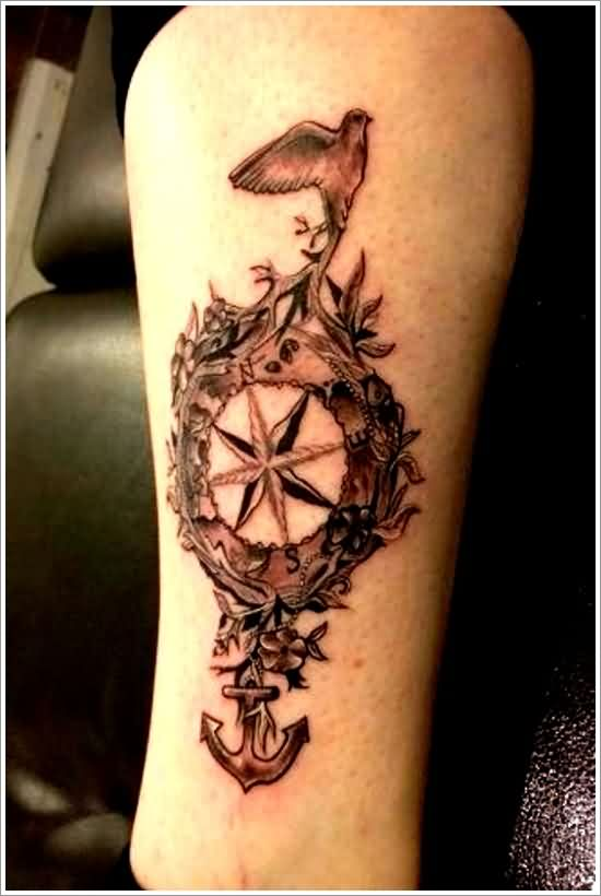 Grey Nautical Compass Flowers Bird And Anchor Tattoos