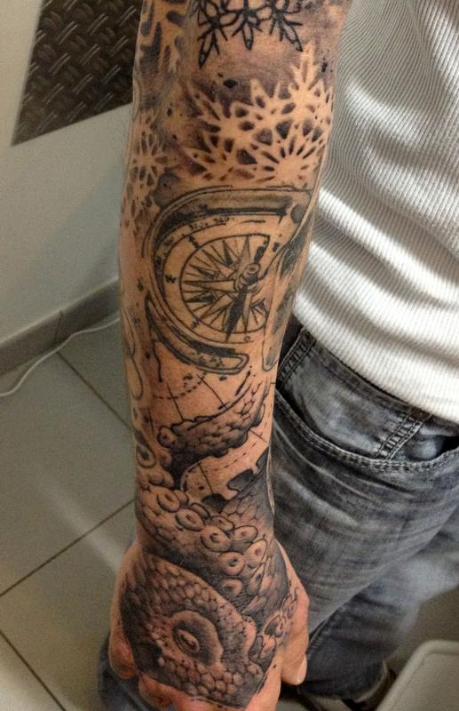 Grey Nautical Compass Sleeve Tattoo Style For Guys