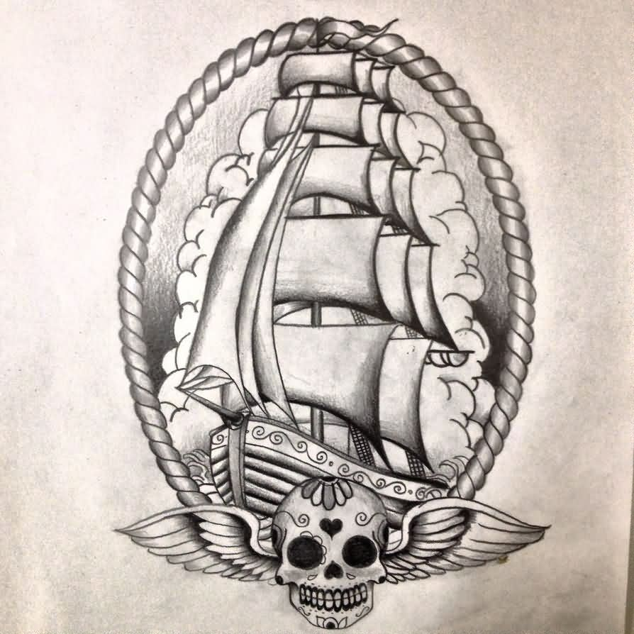 Grey Nautical Ship And Winged Sugar Skull Tattoos Sketch