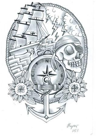 Grey Nautical Tattoo Designs
