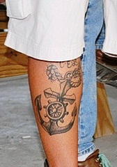 Grey Nautical Tattoos On Leg For Boys