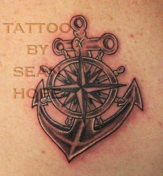 Grey Nautical Wheel With Anchor Tattoos