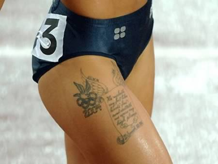 Grey Olympic Tattoos On Thigh