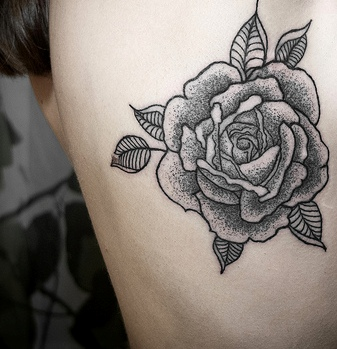 Grey Original Rose Tattoo On Side