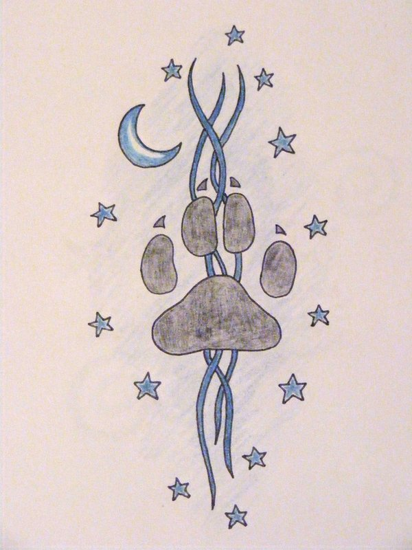 Grey Paw Print Moon And Star Tattoo Designs
