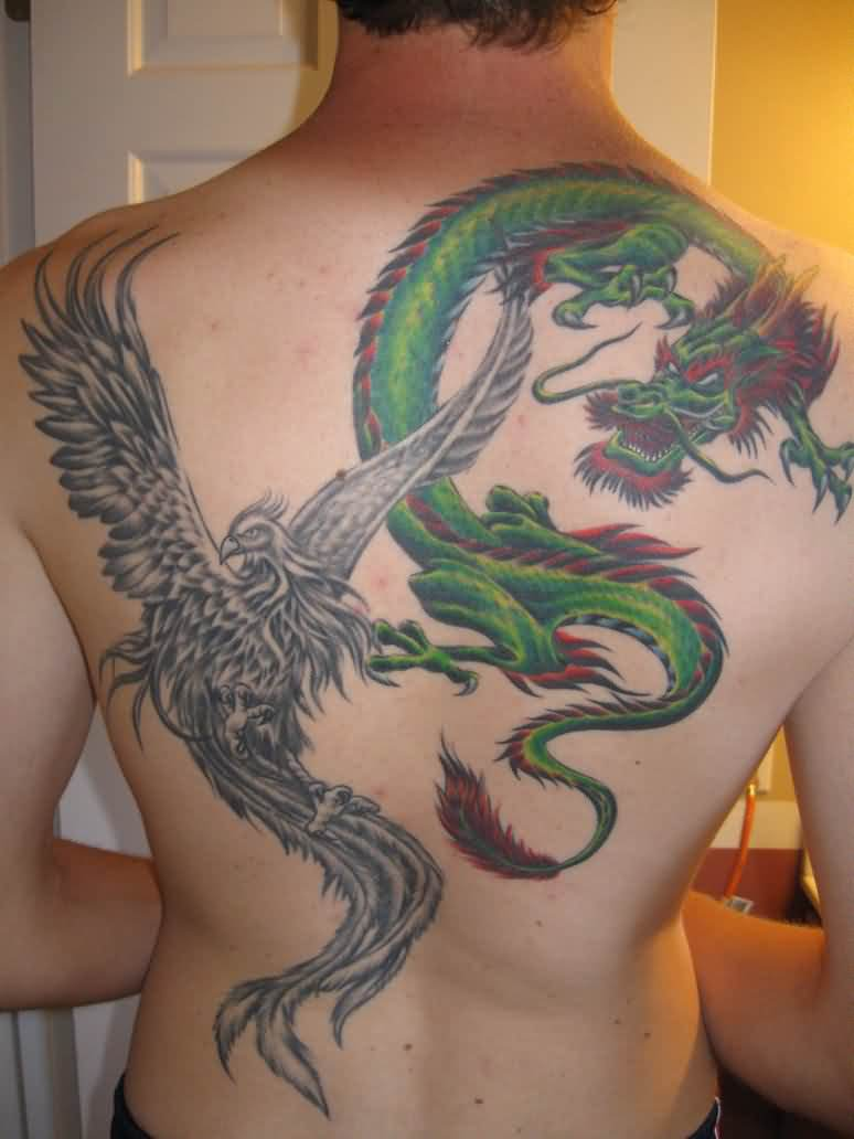 Grey Phoenix And Dragon Tattoos On Back