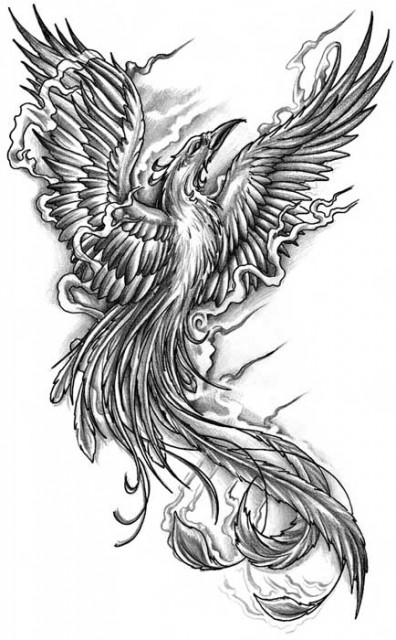 Grey Phoenix And Flames Tattoos Design