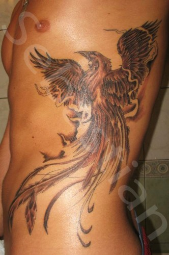 Grey Phoenix And Flames Tattoos On Ribs