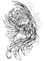 Grey Phoenix And Flower Tattoo Designs