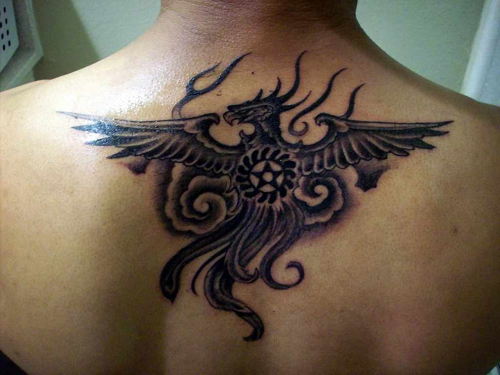 Grey Phoenix Sesawosuban And Clouds Tattoos On Upperback