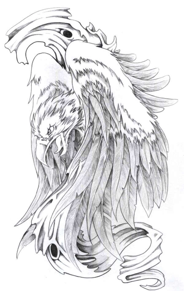 Grey Phoenix Tattoo Design