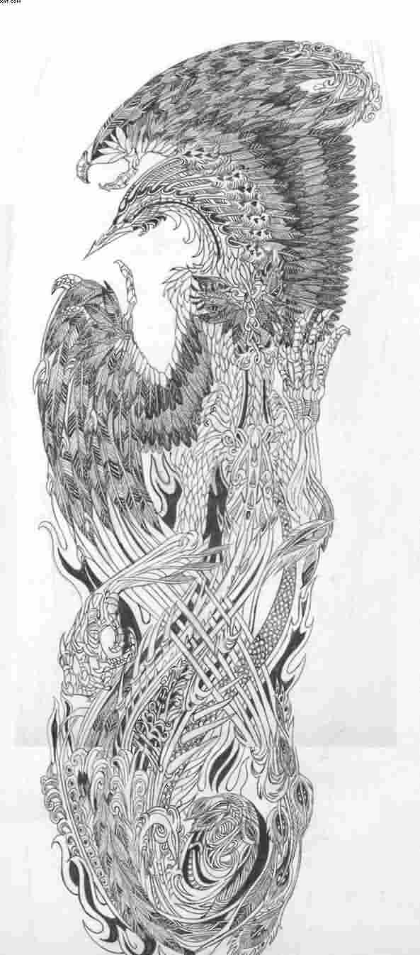 Grey Phoenix Tattoo Design For Sleeve
